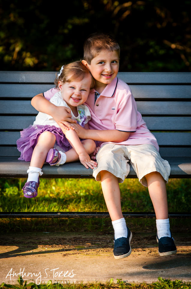 Summer Family Photos - Brookdale Park - Brother and Sister on Bench