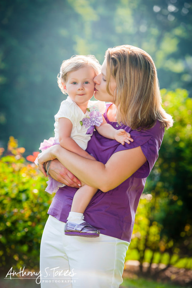 Summer Family Photos - Brookdale Park - Mom Kissing Daughter