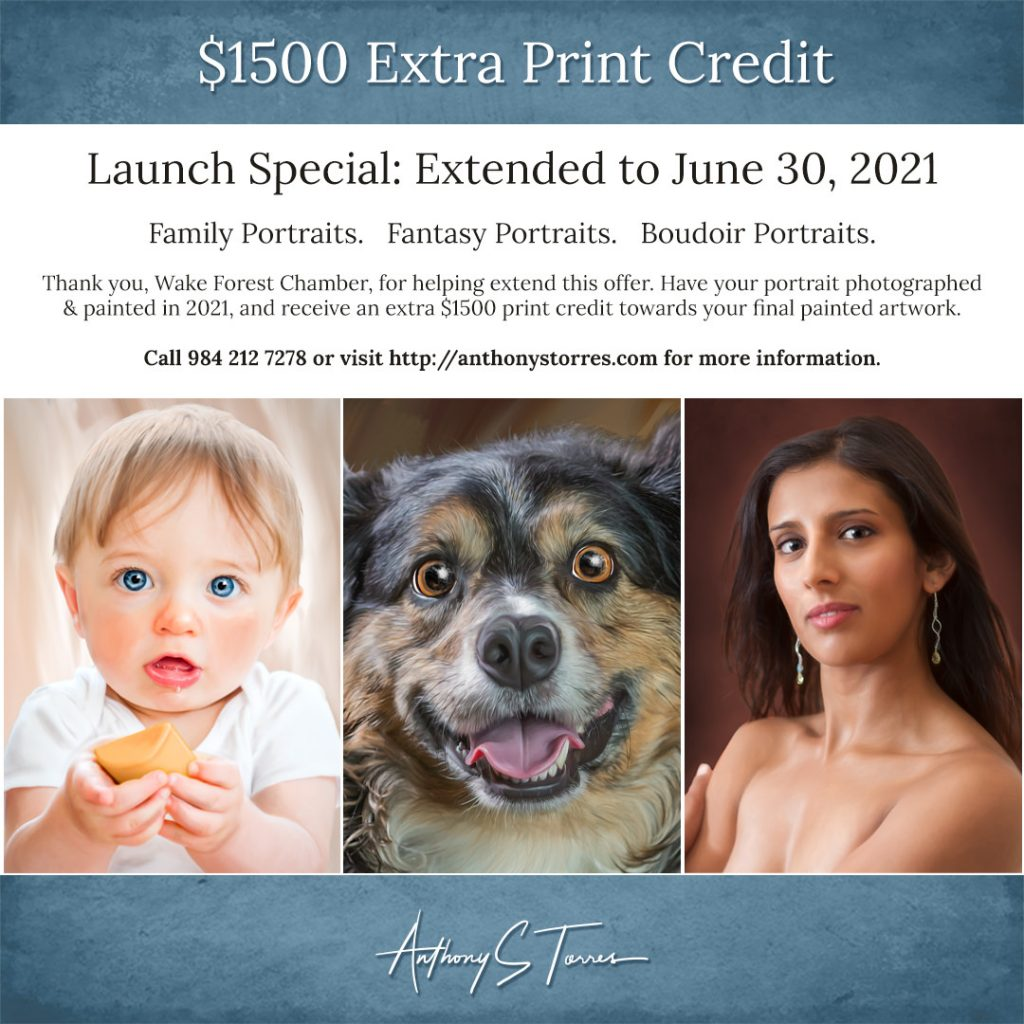New Site Painted Portrait Launch Special: $1500 Print Credit Extended to June 30th!